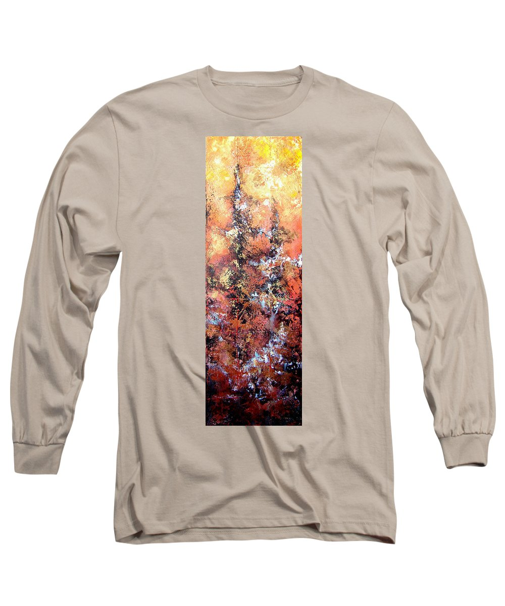 Tile Long Sleeve T-Shirt featuring the painting Wait For Sleep by Shadia Derbyshire