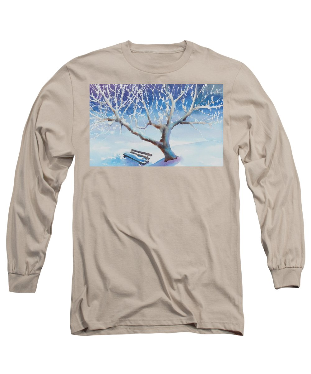 Snow Long Sleeve T-Shirt featuring the painting Waiting For Spring by Ruth Kamenev