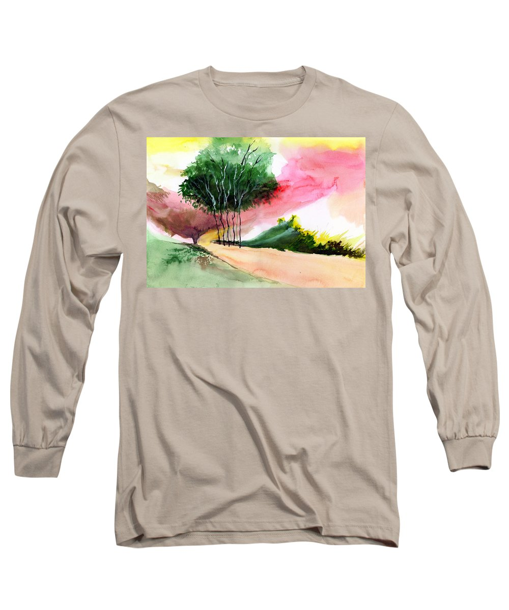 Watercolor Long Sleeve T-Shirt featuring the painting Walk Away by Anil Nene