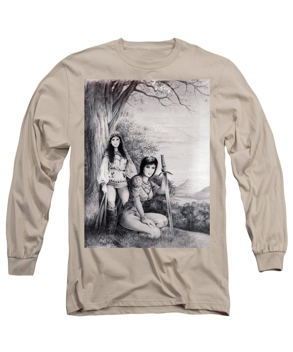 Floral Long Sleeve T-Shirt featuring the drawing Warriors by Rachel Christine Nowicki