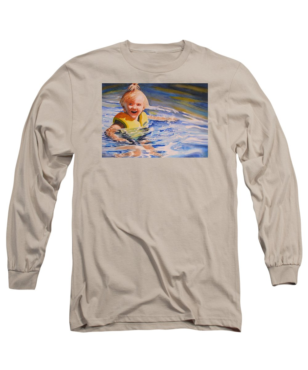 Swimming Long Sleeve T-Shirt featuring the painting Water Baby by Karen Stark