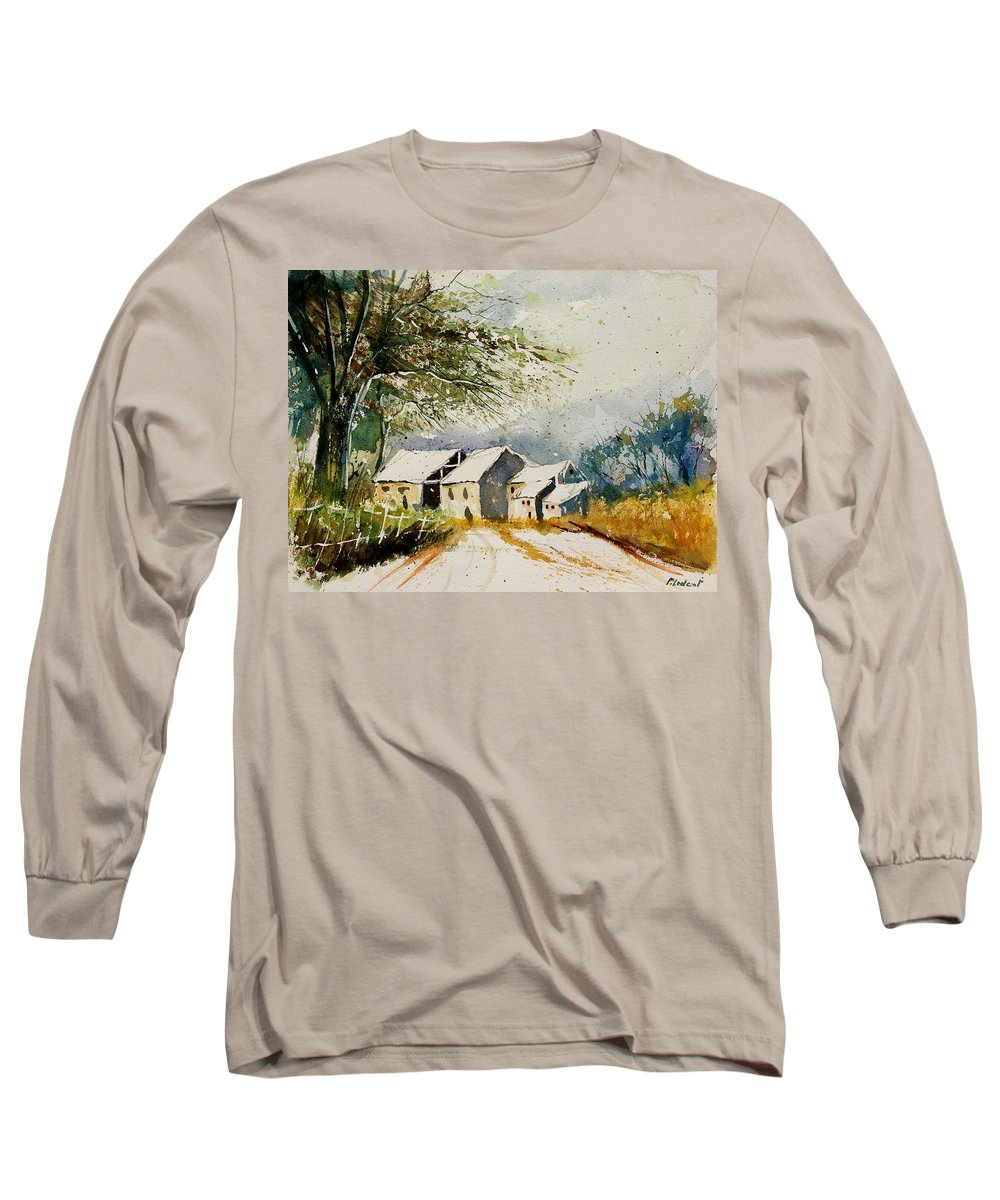 Landscape Long Sleeve T-Shirt featuring the painting Watercolor 010708 by Pol Ledent