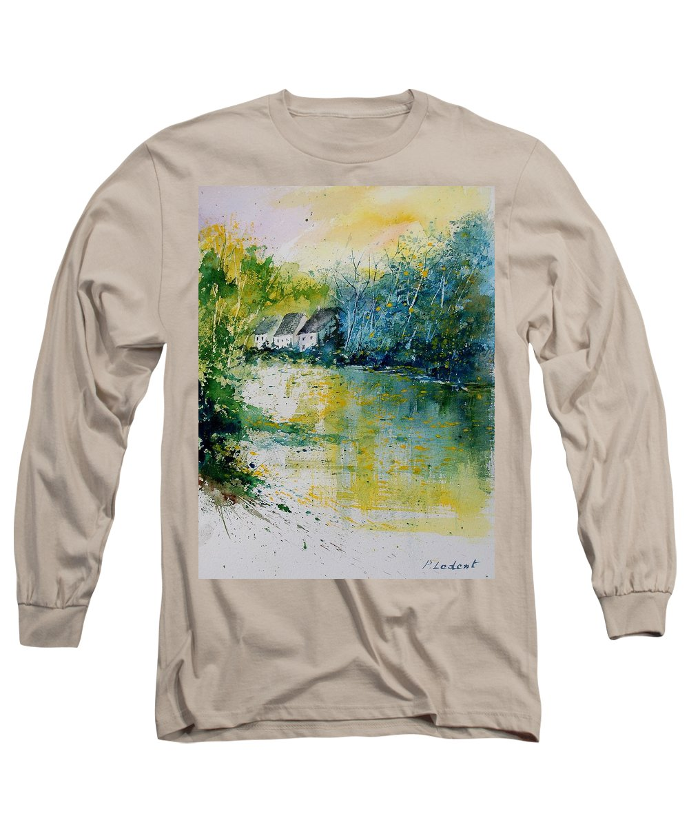 River Long Sleeve T-Shirt featuring the painting Watercolor 011108 by Pol Ledent