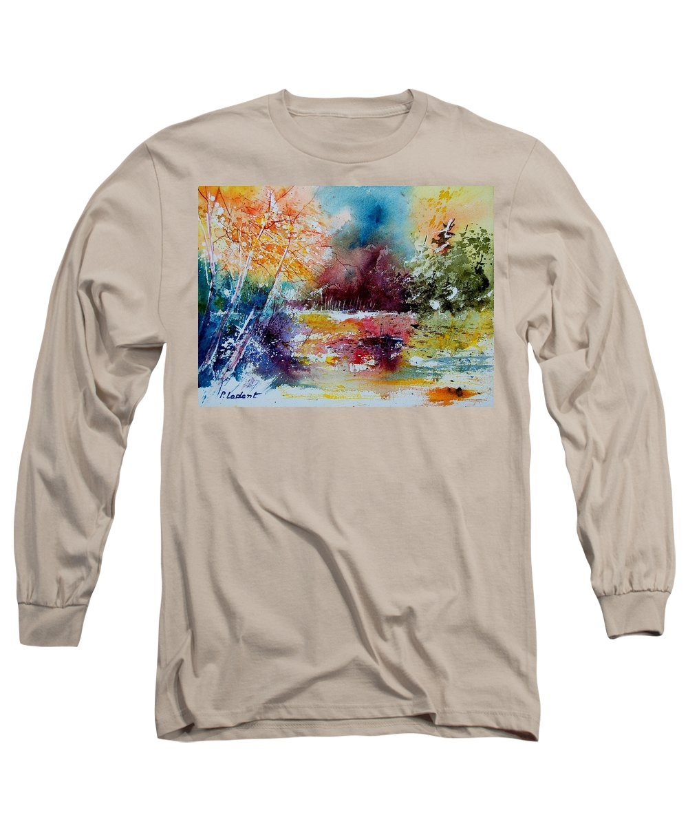 Pond Long Sleeve T-Shirt featuring the painting Watercolor 140908 by Pol Ledent