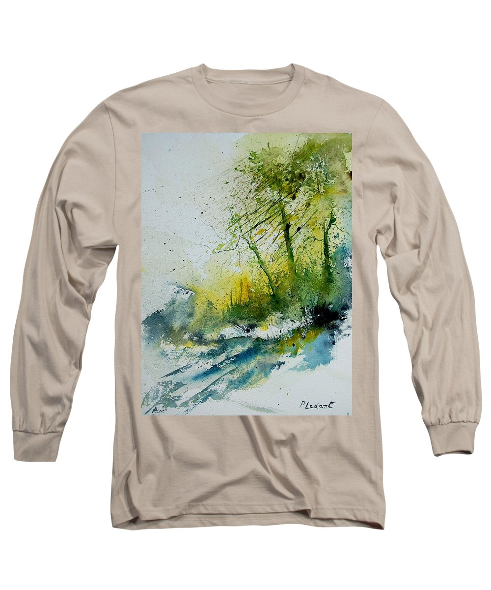River Long Sleeve T-Shirt featuring the painting Watercolor 181207 by Pol Ledent
