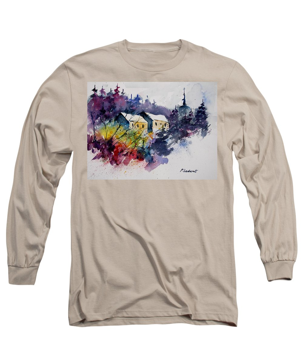 River Long Sleeve T-Shirt featuring the painting Watercolor 231207 by Pol Ledent
