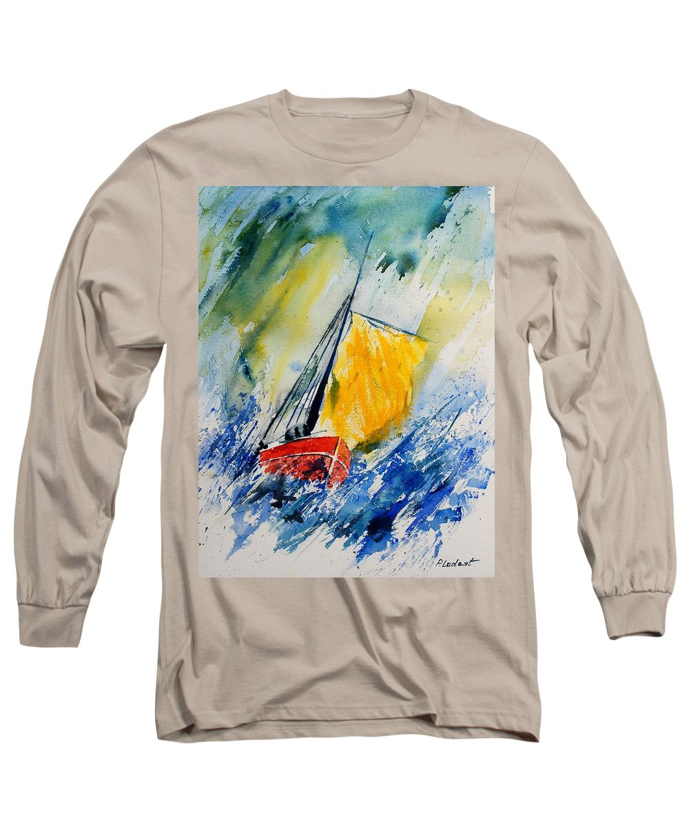 Sea Waves Ocean Boat Sailing Long Sleeve T-Shirt featuring the painting Watercolor 280308 by Pol Ledent