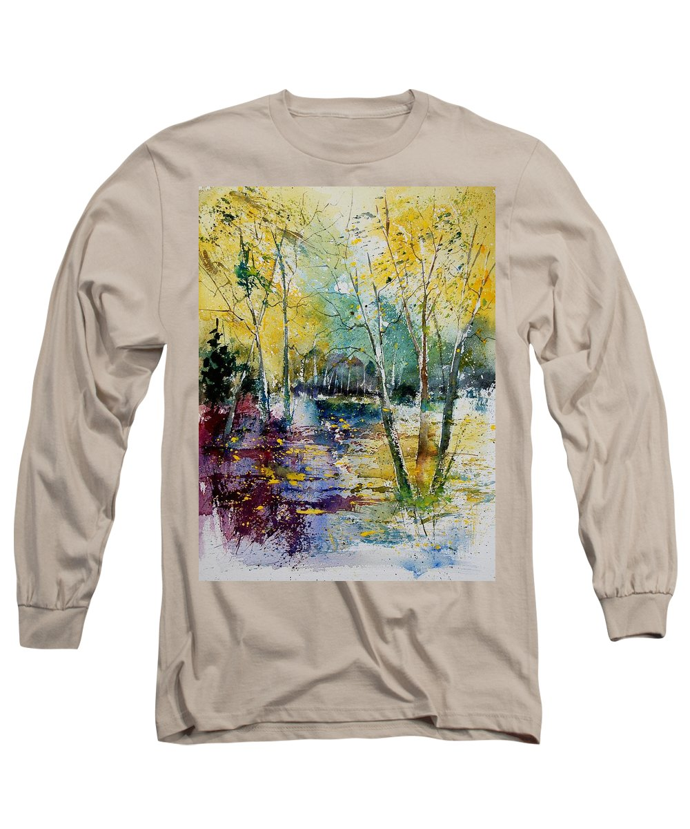 Pond Long Sleeve T-Shirt featuring the painting Watercolor 280809 by Pol Ledent