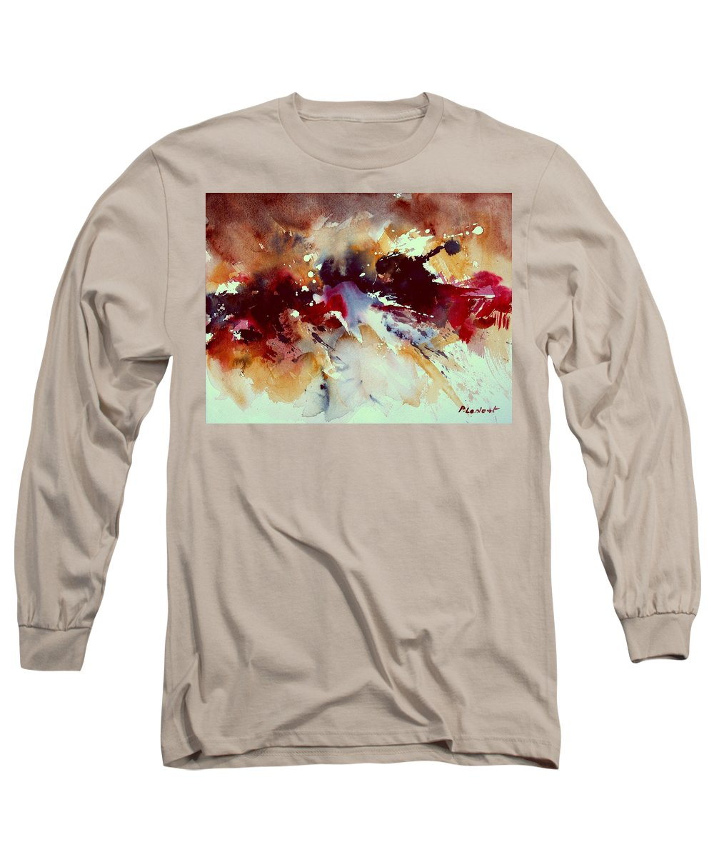 Abstract Long Sleeve T-Shirt featuring the painting Watercolor 301107 by Pol Ledent