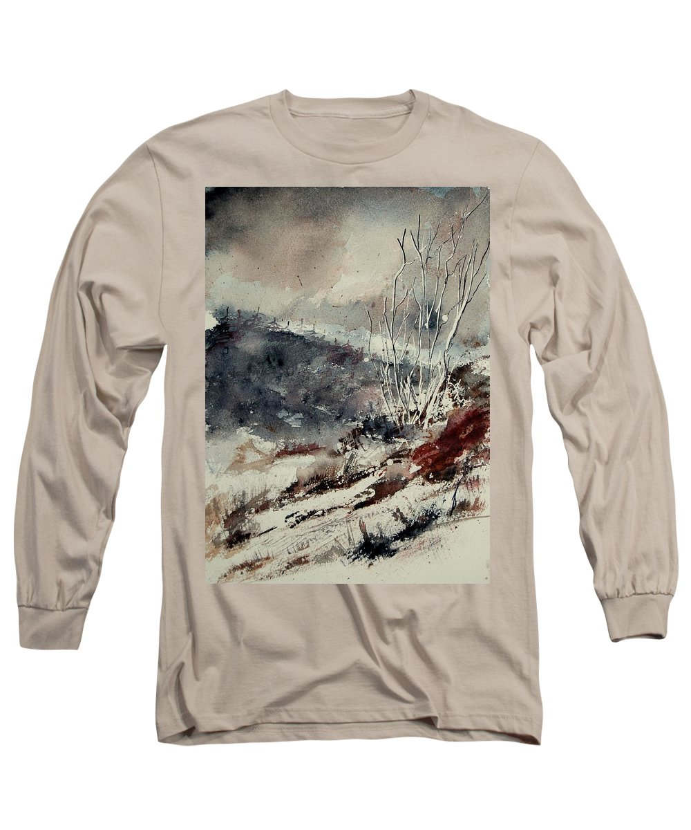 Snow Long Sleeve T-Shirt featuring the print Watercolor 446 by Pol Ledent