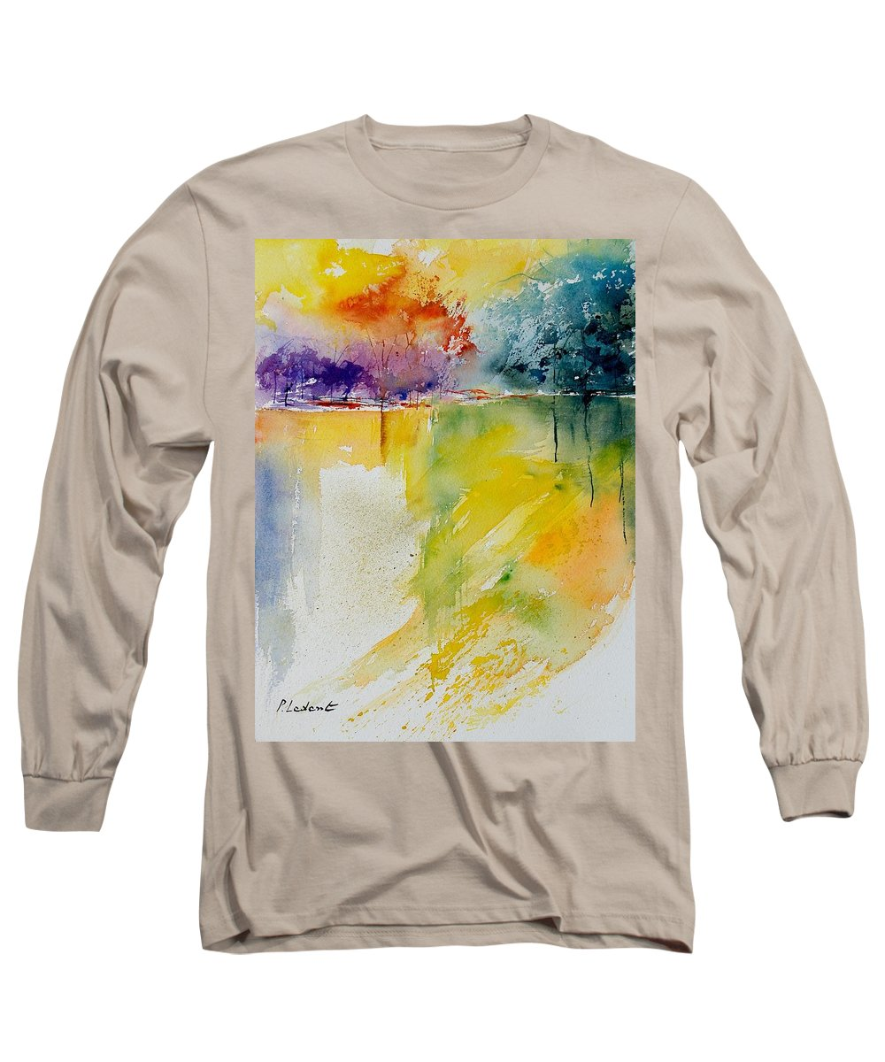 Pond Long Sleeve T-Shirt featuring the painting Watercolor 800142 by Pol Ledent