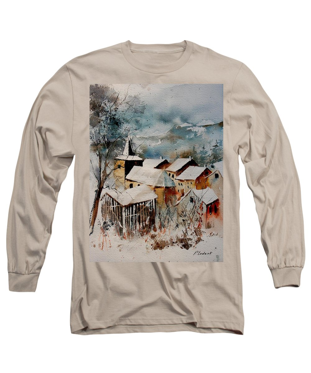Winter Long Sleeve T-Shirt featuring the painting Watercolor 9040122 by Pol Ledent