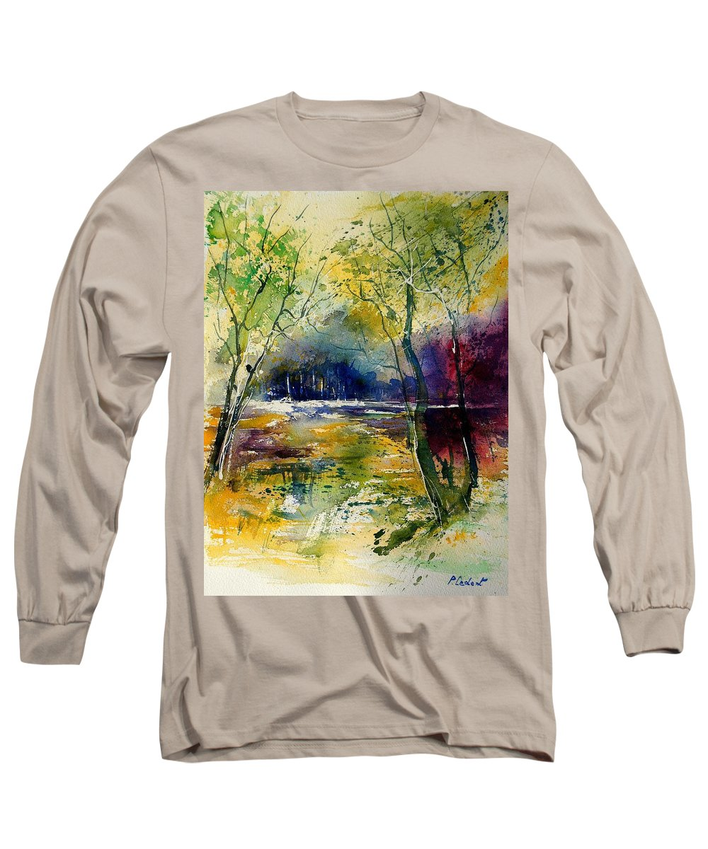 River Long Sleeve T-Shirt featuring the painting Watercolor 908010 by Pol Ledent