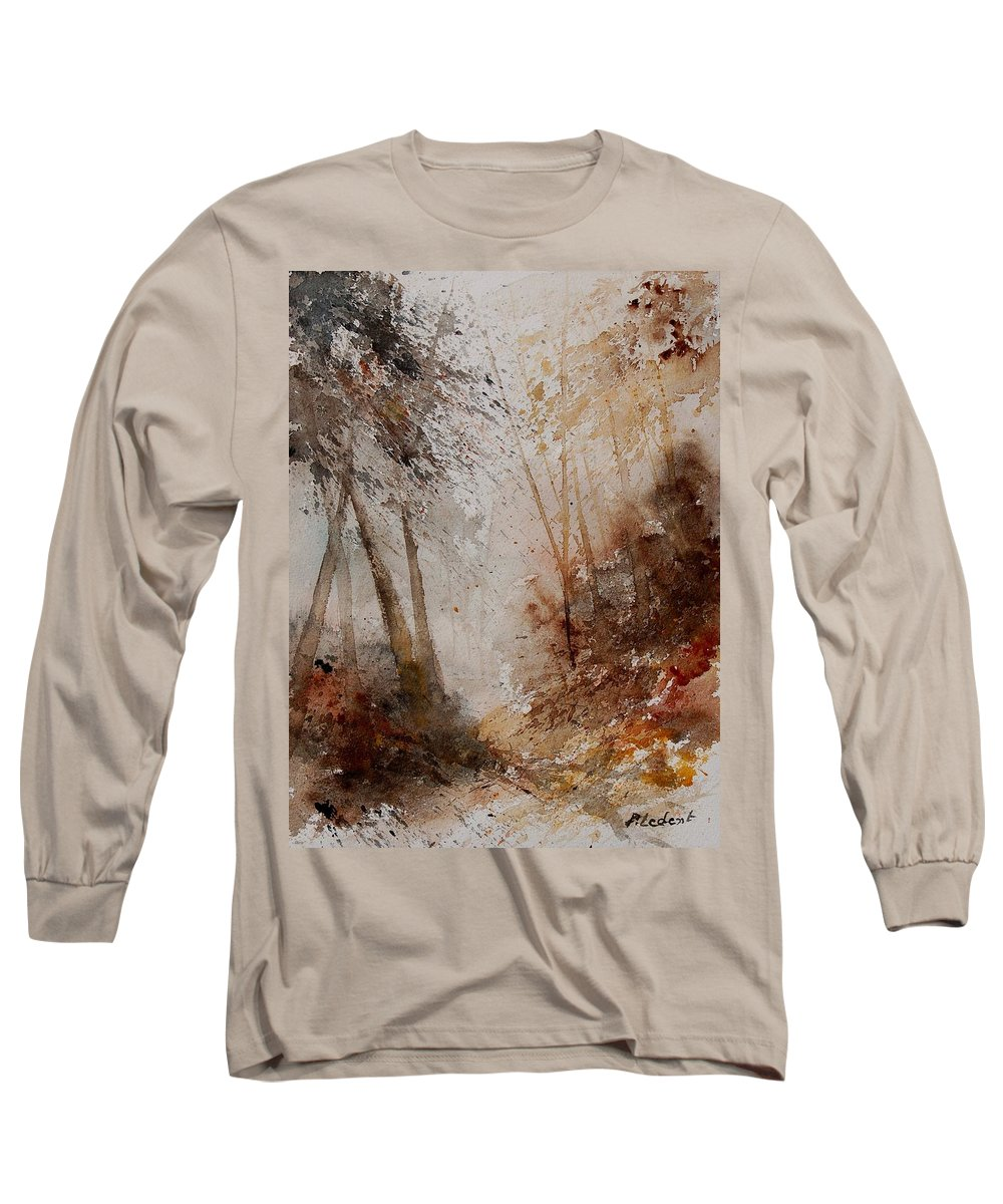 Landscape Long Sleeve T-Shirt featuring the painting Watercolor Misty Path by Pol Ledent