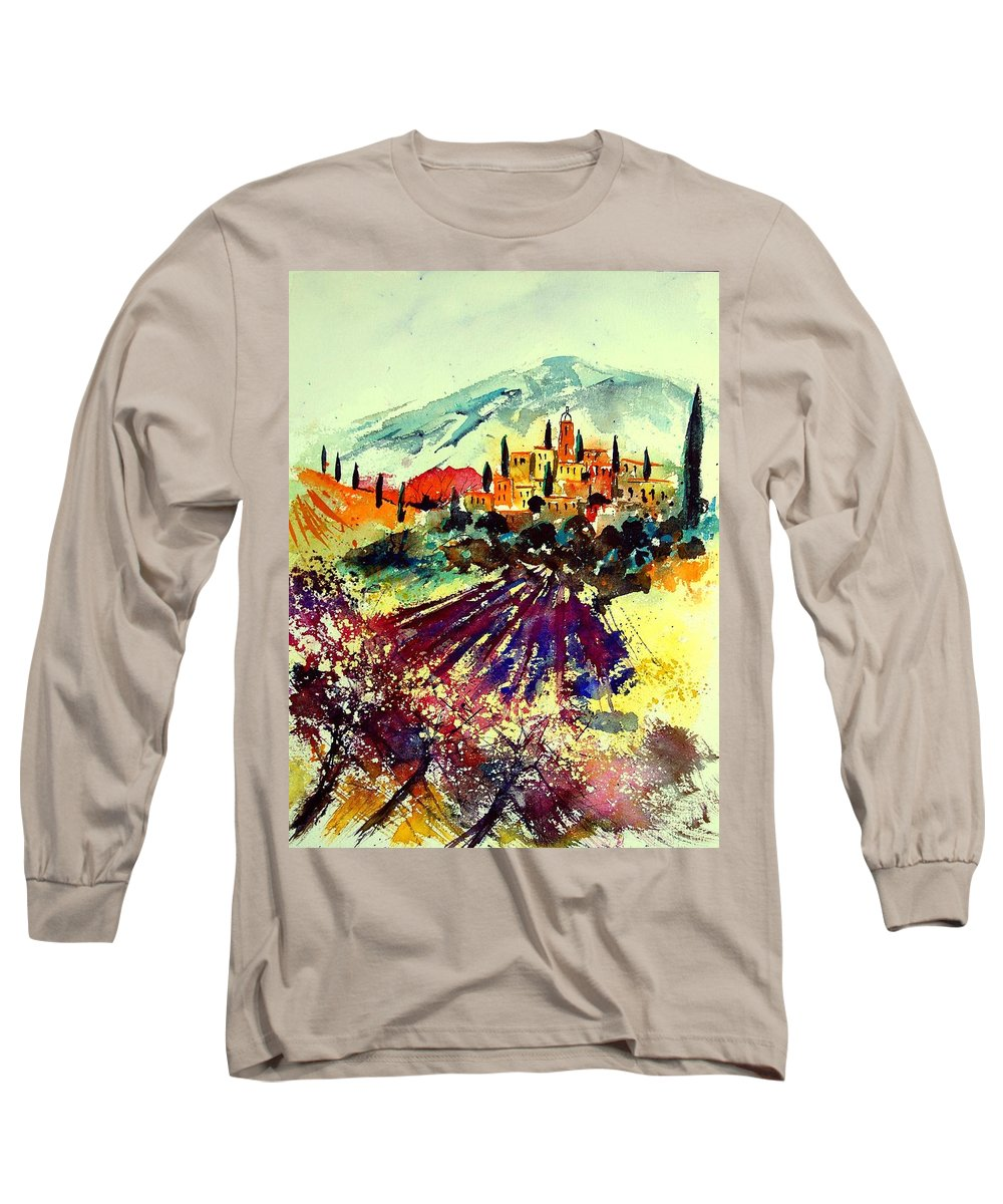 Poppies Long Sleeve T-Shirt featuring the painting Watercolor Provence 07 by Pol Ledent