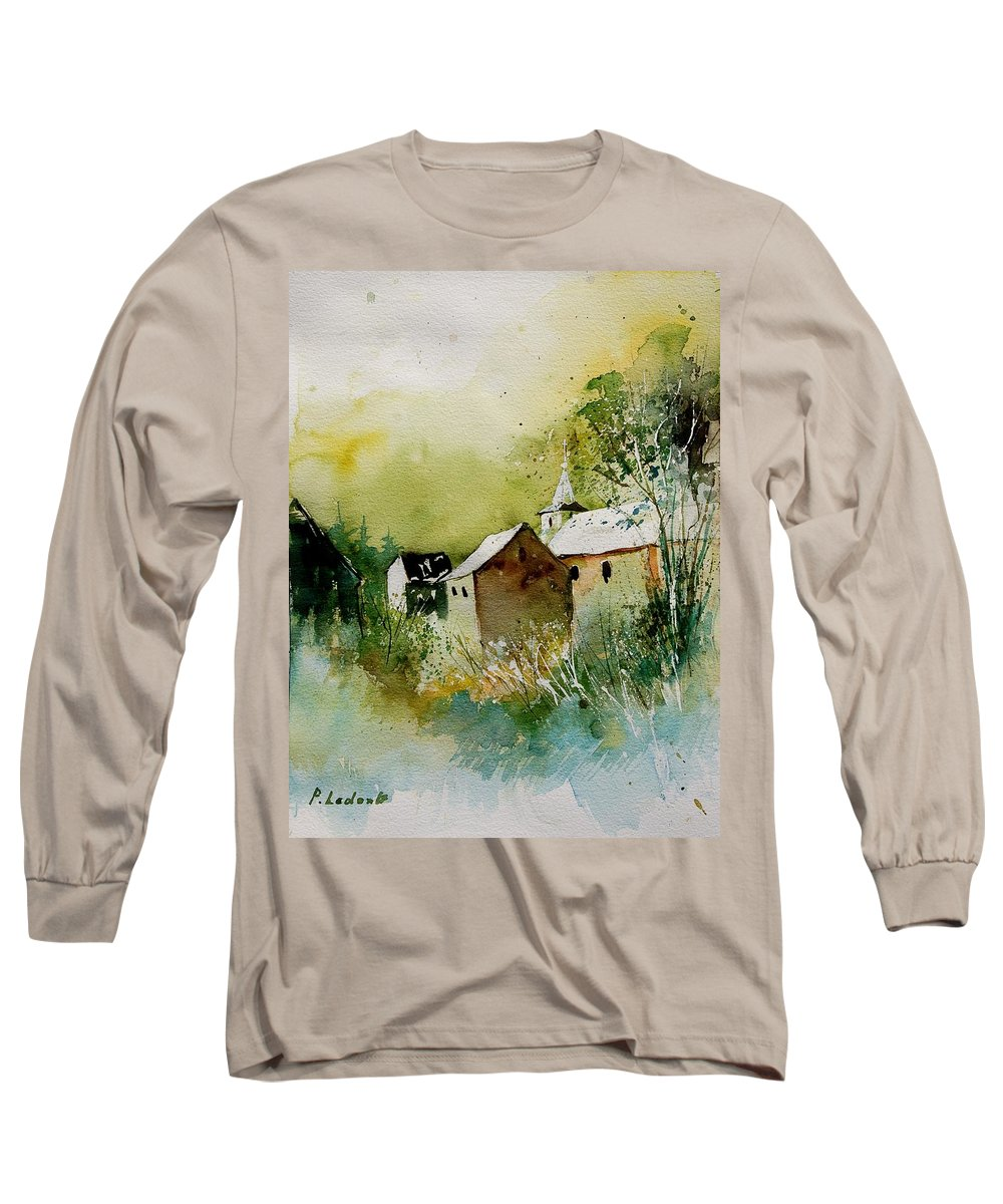 Landscape Long Sleeve T-Shirt featuring the painting Watercolor Sosoye by Pol Ledent