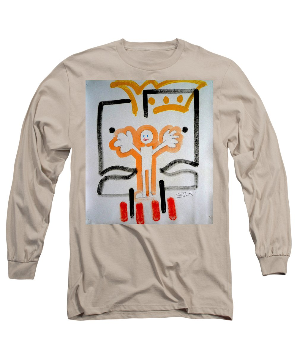 Drawing Long Sleeve T-Shirt featuring the painting welcome to the U N by Charles Stuart