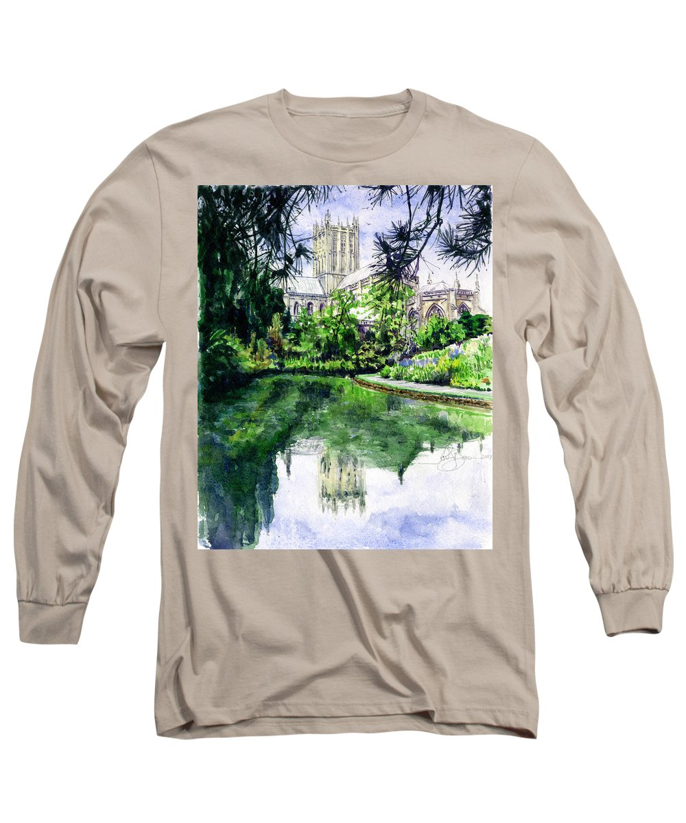 Wells Long Sleeve T-Shirt featuring the painting Wells Cathedral by John D Benson