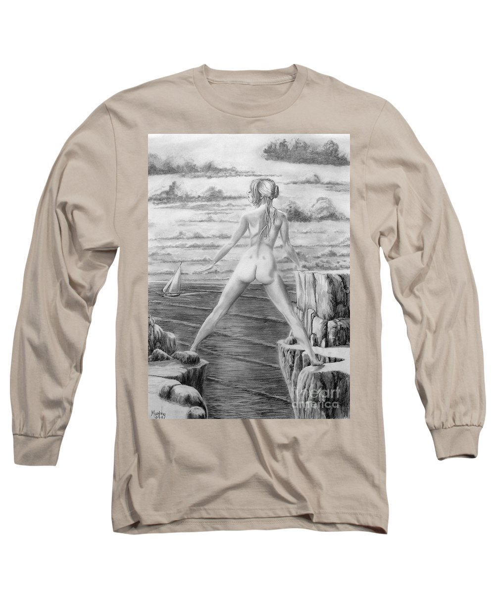 Nude Long Sleeve T-Shirt featuring the drawing Wendy From Memory. by Murphy Elliott