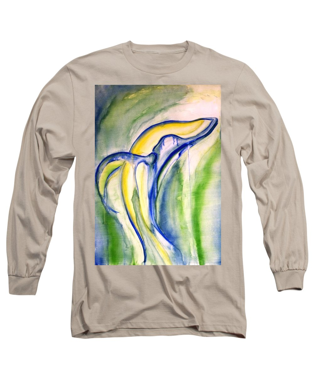 Watercolor Long Sleeve T-Shirt featuring the painting Whale by Sheridan Furrer