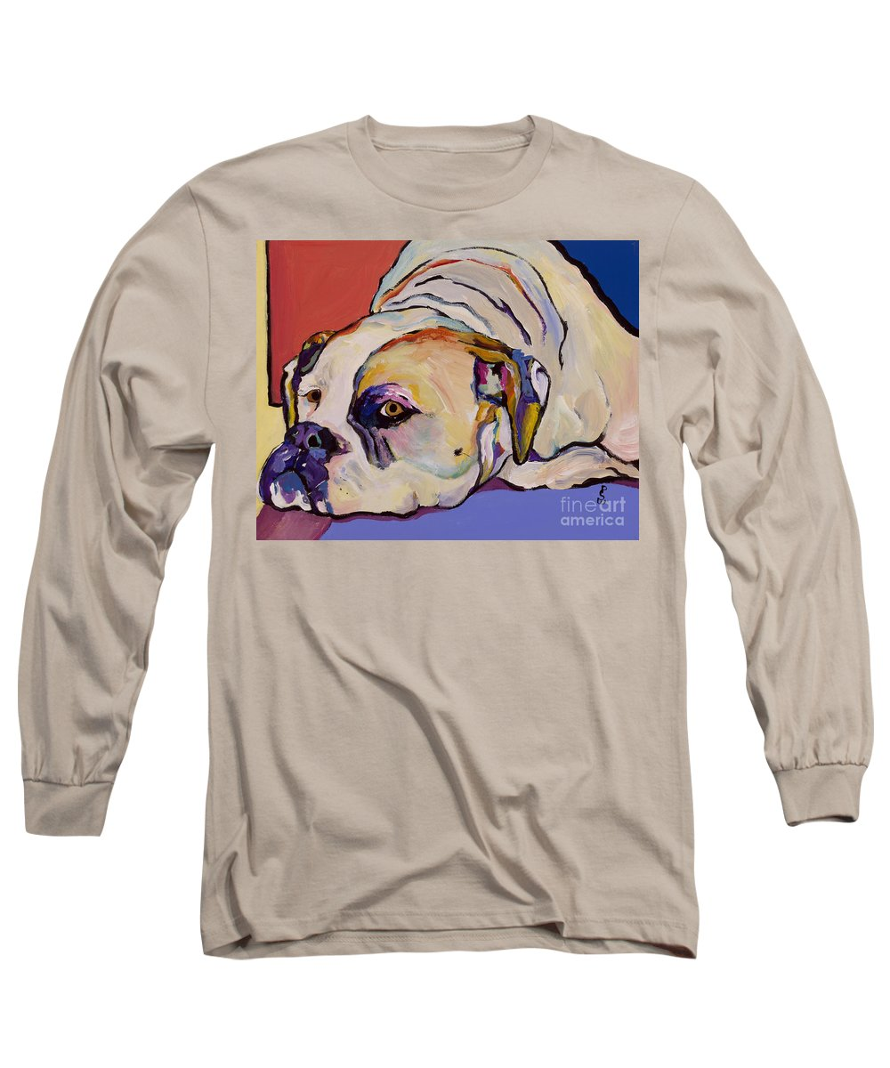 American Bulldog Long Sleeve T-Shirt featuring the painting Where Is My Dinner by Pat Saunders-White