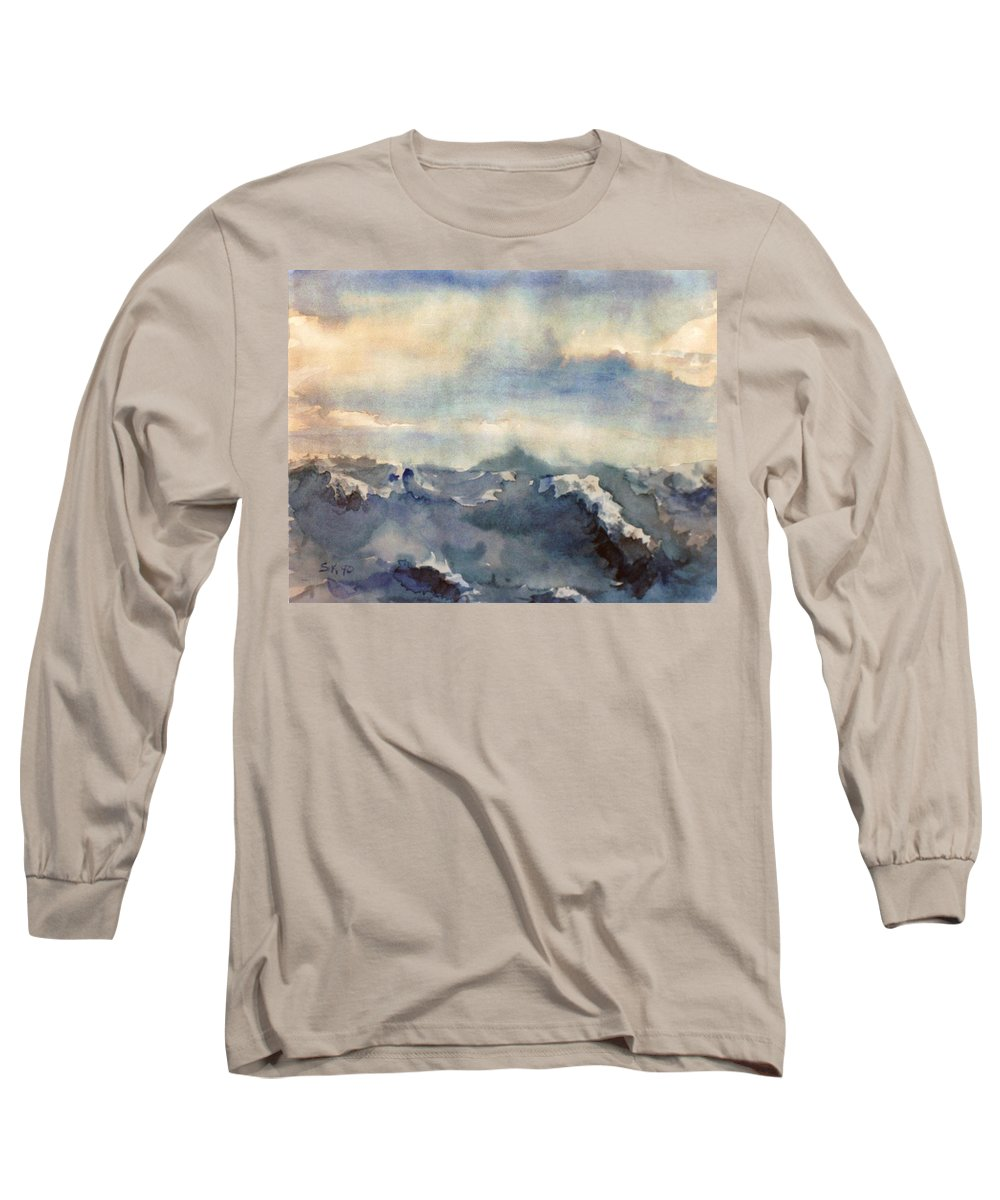 Seascape Long Sleeve T-Shirt featuring the painting Where Sky Meets Ocean by Steve Karol