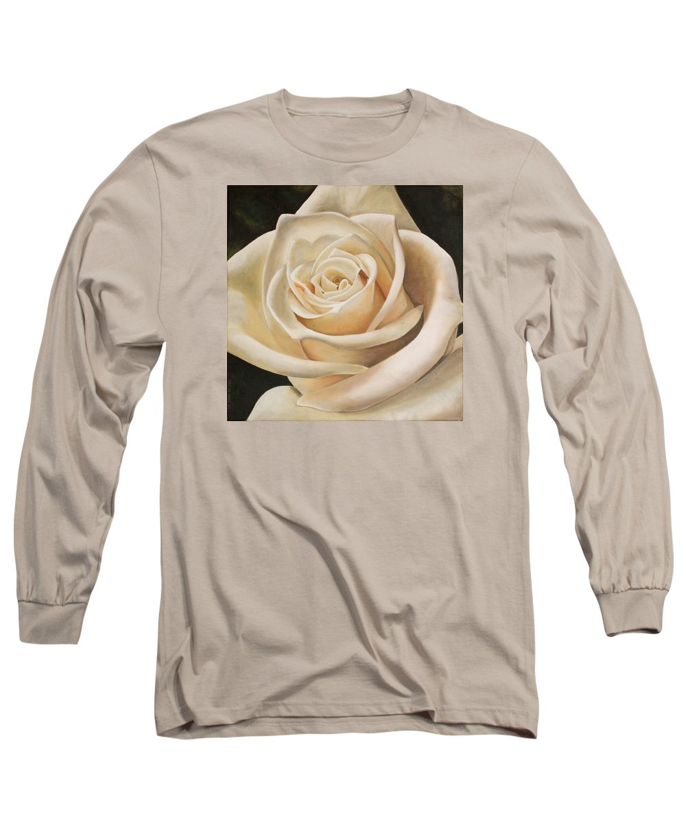 Flower Long Sleeve T-Shirt featuring the painting White Rose by Rob De Vries