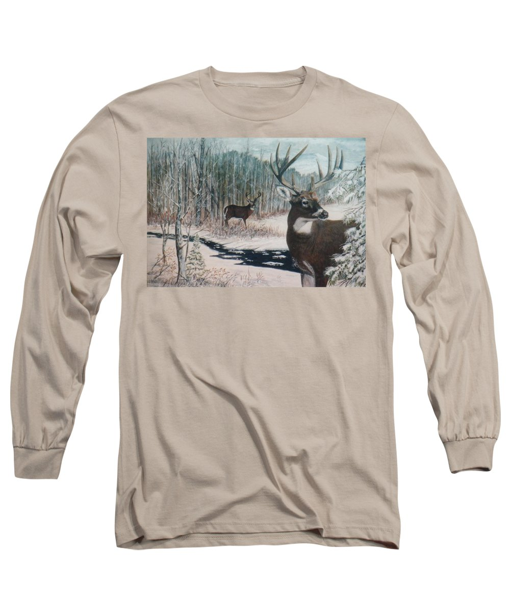 Deer; Snow; Creek Long Sleeve T-Shirt featuring the painting Whitetail Deer by Ben Kiger