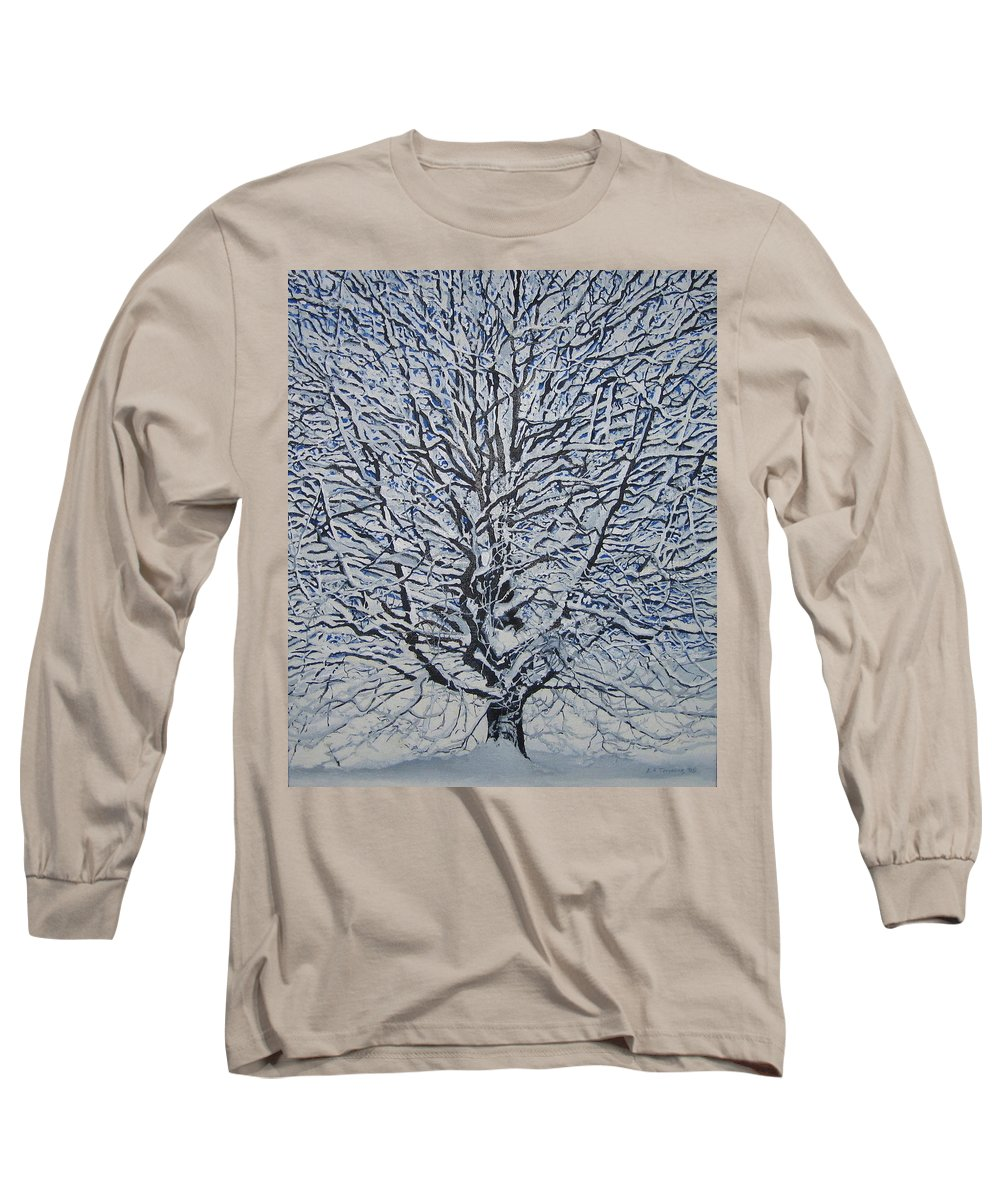 Winter Long Sleeve T-Shirt featuring the painting Winter '05 by Leah Tomaino