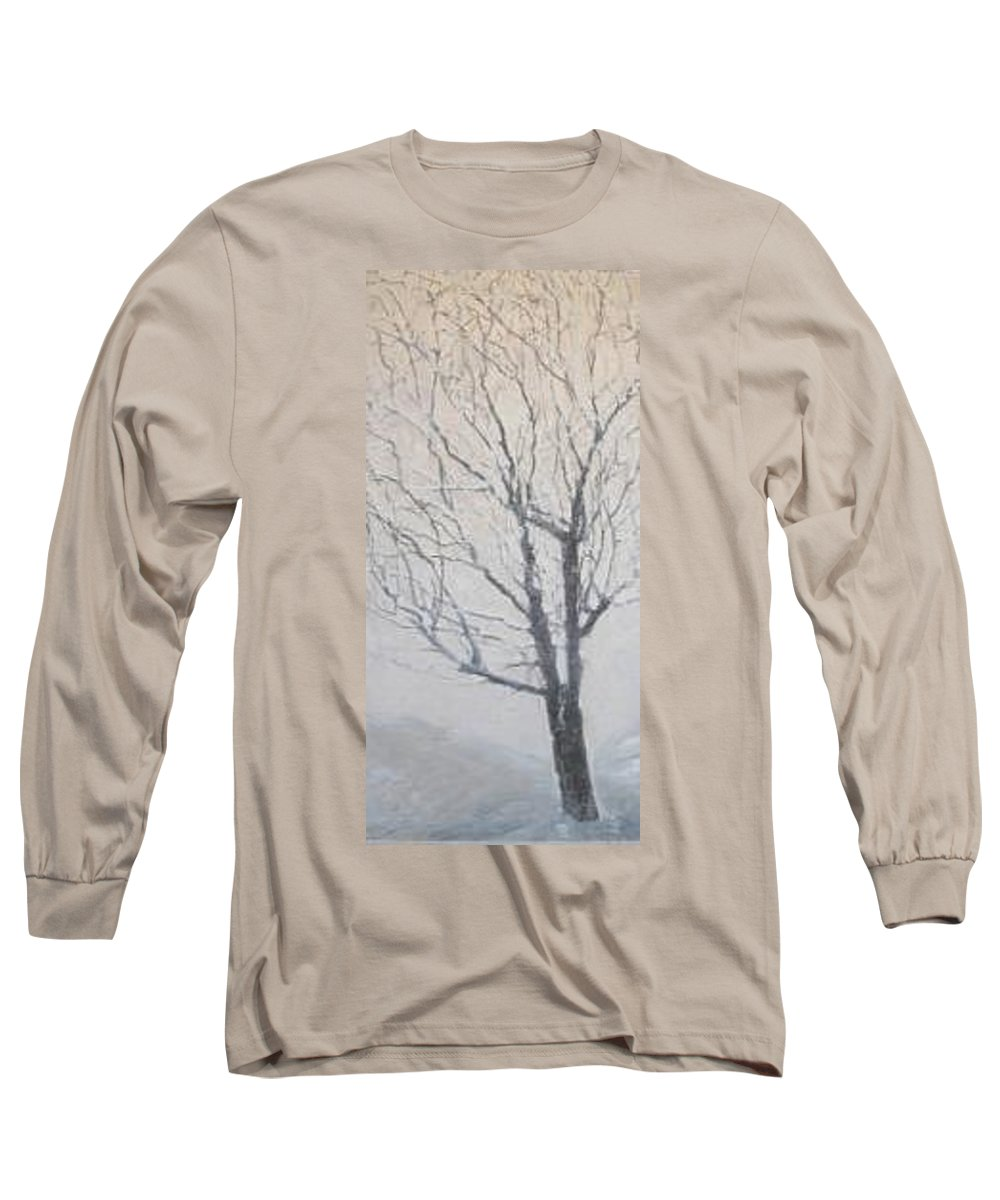 Tree Long Sleeve T-Shirt featuring the painting Winter by Leah Tomaino