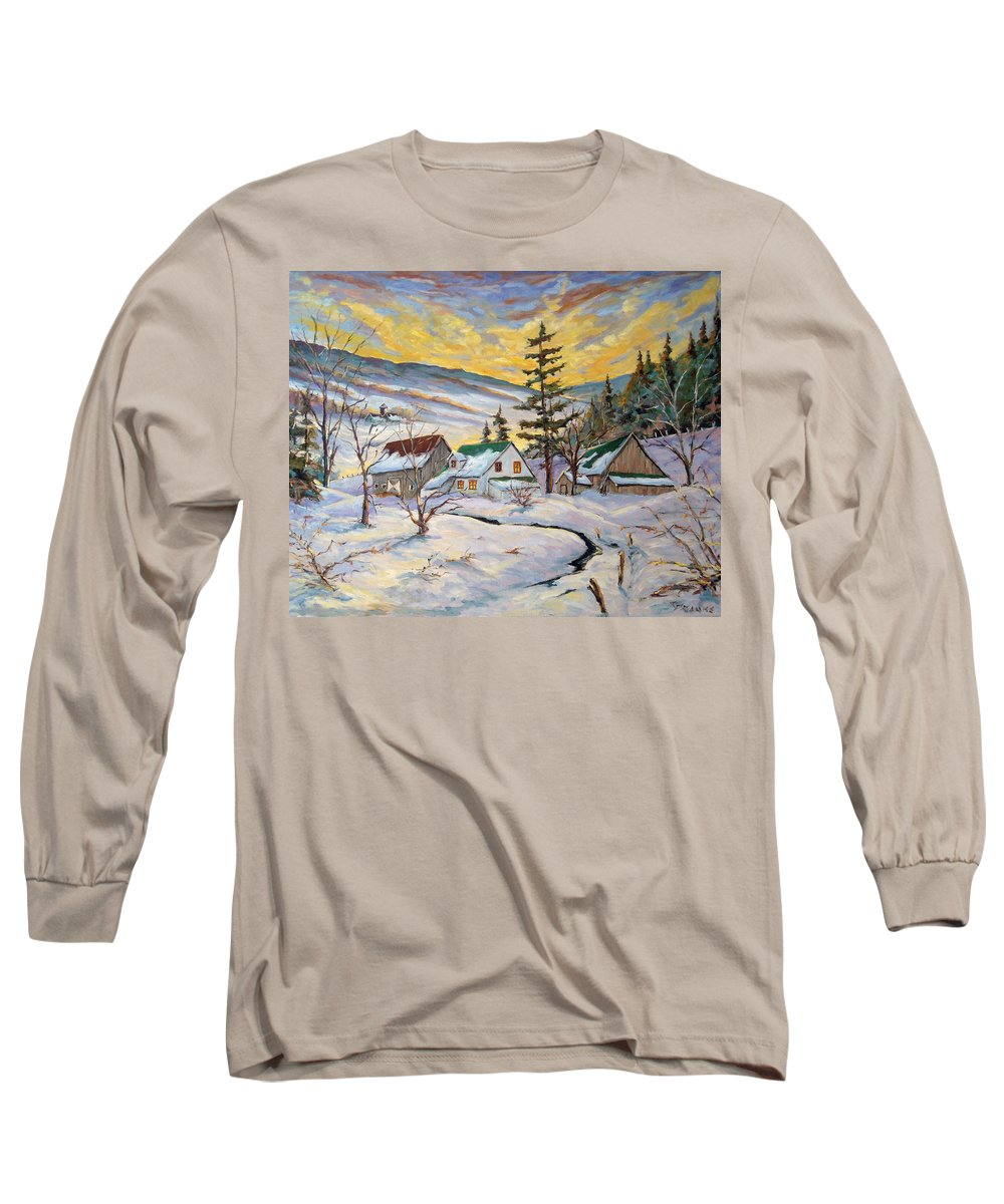 Landscape Long Sleeve T-Shirt featuring the painting Winter Lights by Richard T Pranke