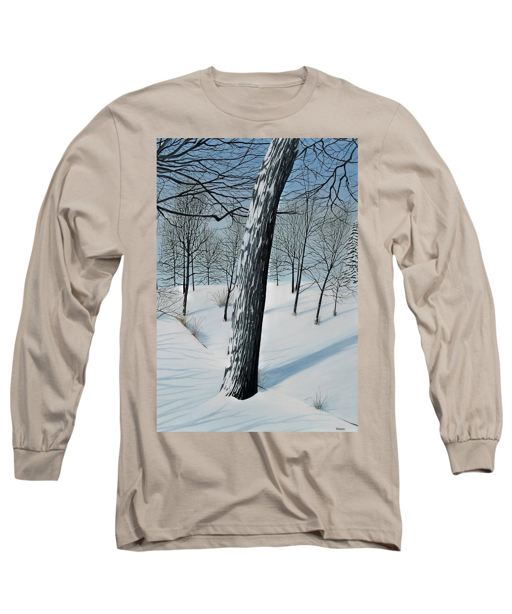 Landscape Long Sleeve T-Shirt featuring the painting Winter Maple by Kenneth M Kirsch