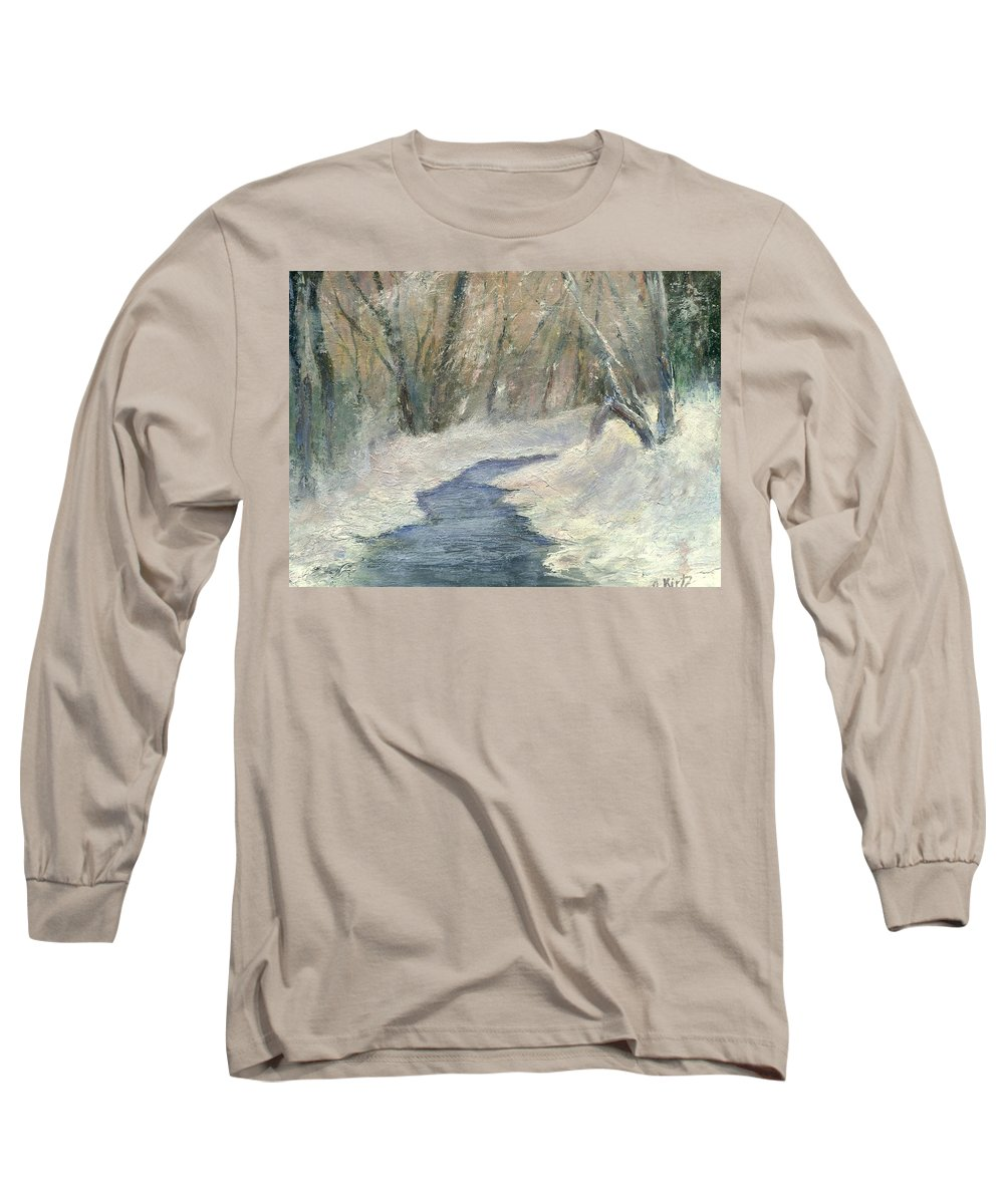 Snow Long Sleeve T-Shirt featuring the painting Winter On Stormcreek by Gail Kirtz