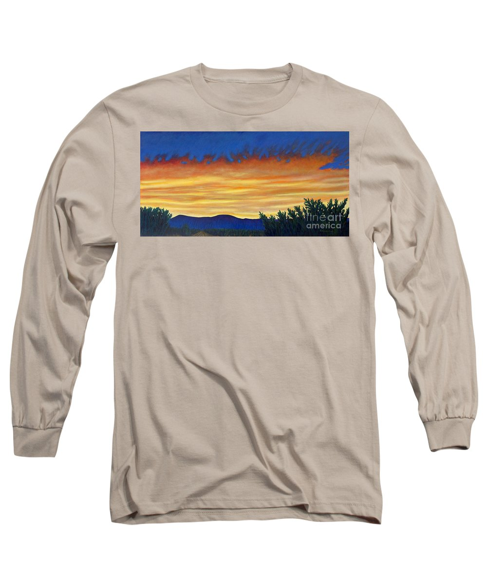Sunset Long Sleeve T-Shirt featuring the painting Winter Sunset In El Dorado by Brian Commerford