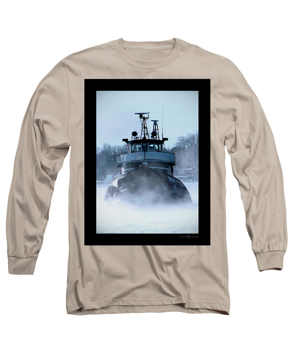 Tug Long Sleeve T-Shirt featuring the photograph Winter Tug by Tim Nyberg