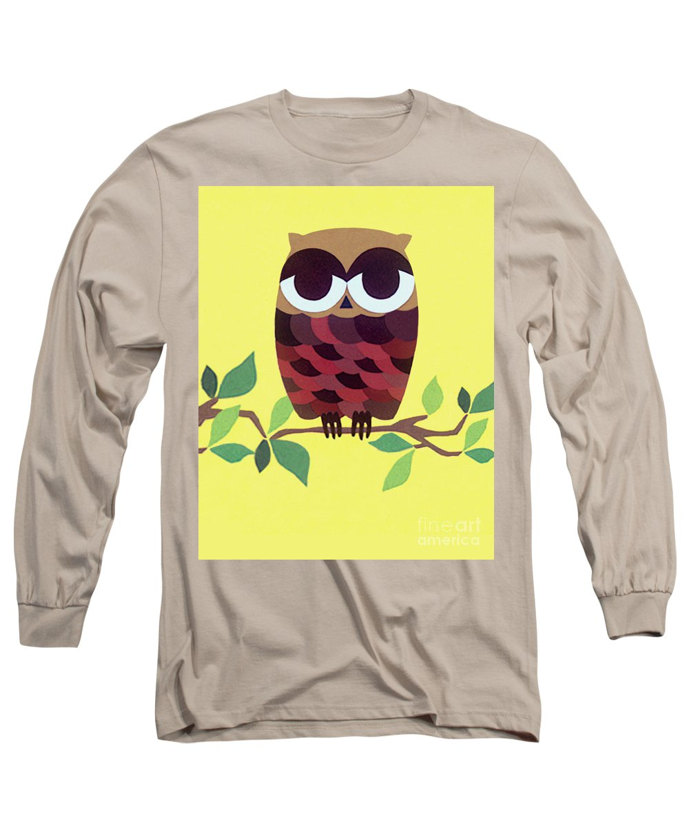 Nature Long Sleeve T-Shirt featuring the drawing Wise Owl by Lucyna A M Green