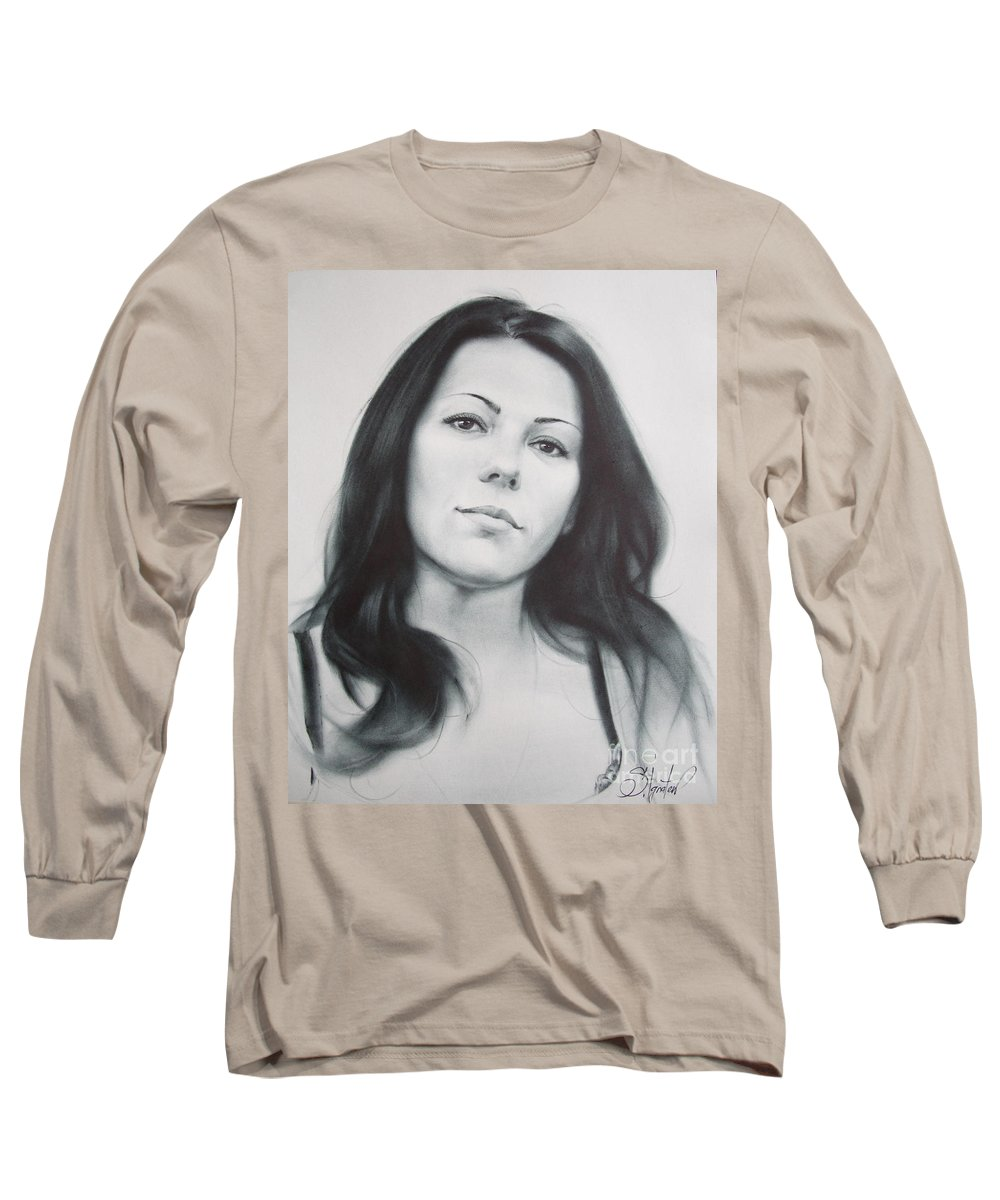 Art Long Sleeve T-Shirt featuring the drawing Woman by Sergey Ignatenko