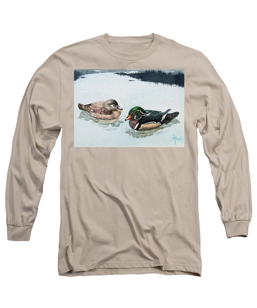 Ducks Long Sleeve T-Shirt featuring the painting Wood Ducks by Gale Cochran-Smith