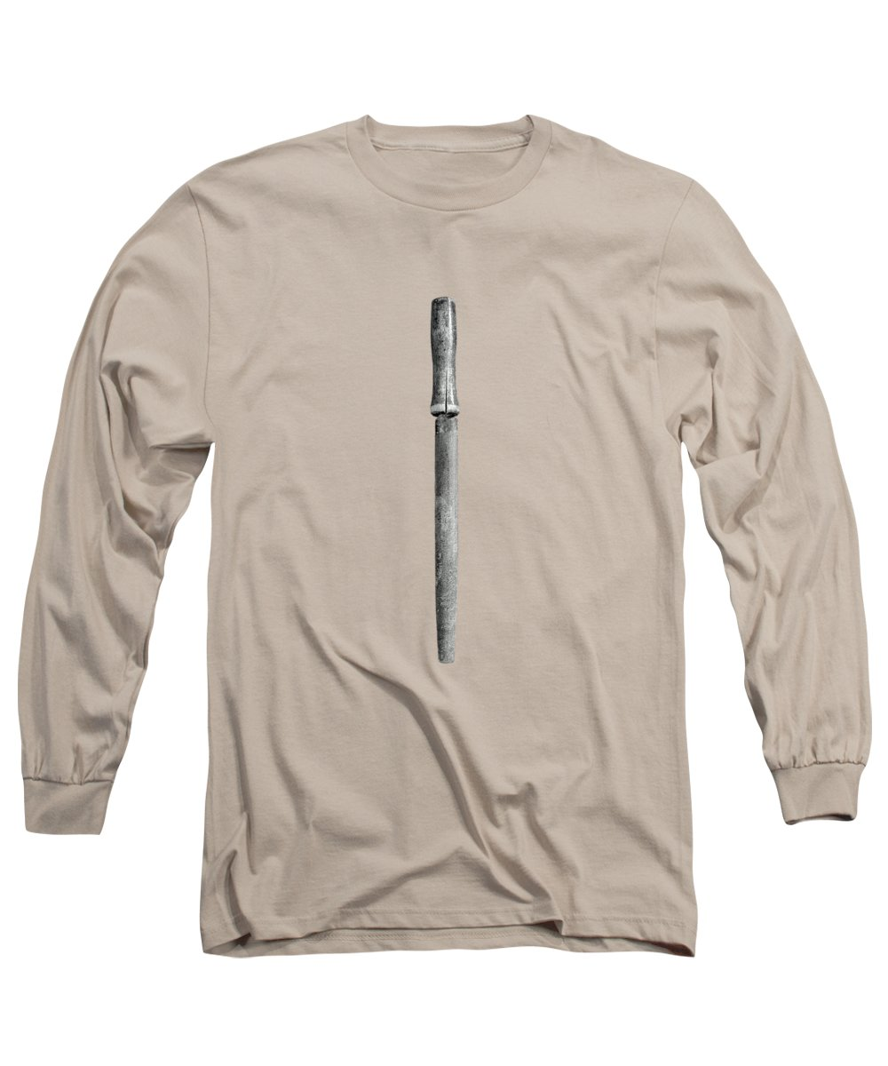 Art Long Sleeve T-Shirt featuring the photograph Wood Handled File On Plywood 71 In Bw by YoPedro