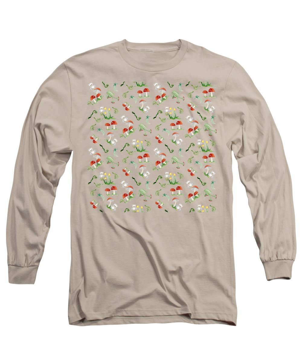 Red Mushrooms Long Sleeve T-Shirt featuring the painting Woodland Fairy Tale - Red Mushrooms N Owls by Audrey Jeanne Roberts