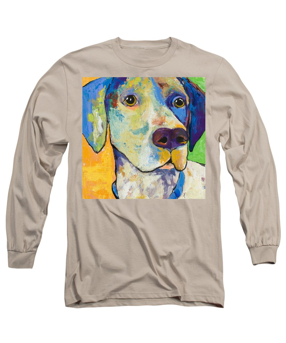 German Shorthair Animalsdog Blue Yellow Acrylic Canvas Long Sleeve T-Shirt featuring the painting Yancy by Pat Saunders-White