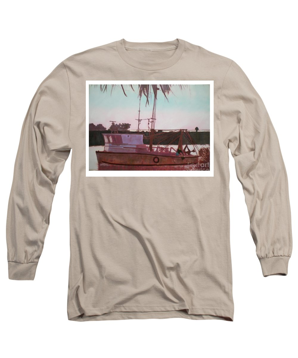 Seascape Long Sleeve T-Shirt featuring the digital art Yankee Town Fishing Boat by Hal Newhouser