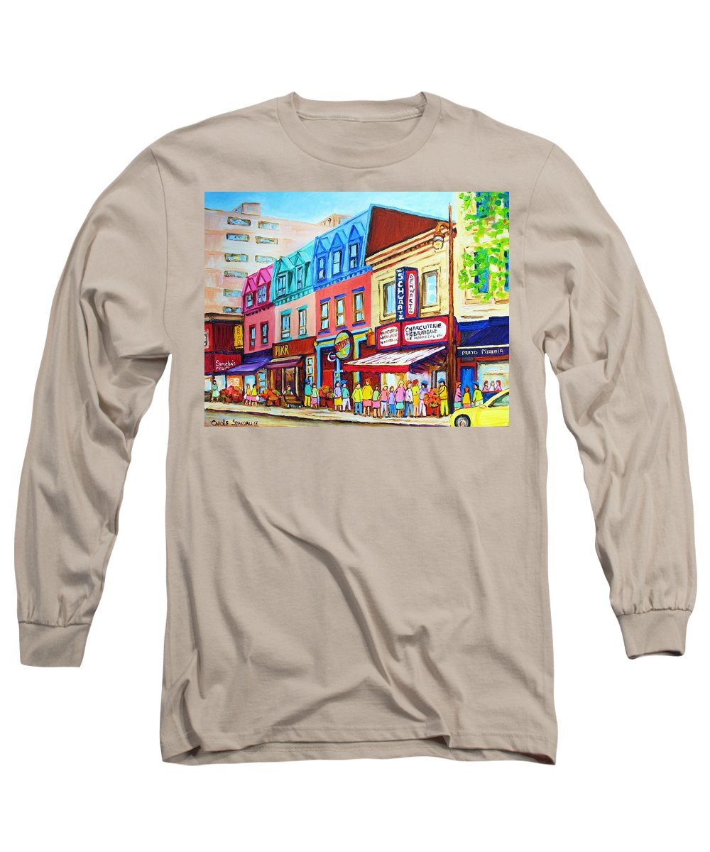 Reastarant Long Sleeve T-Shirt featuring the painting Yellow Car At The Smoked Meat Lineup by Carole Spandau