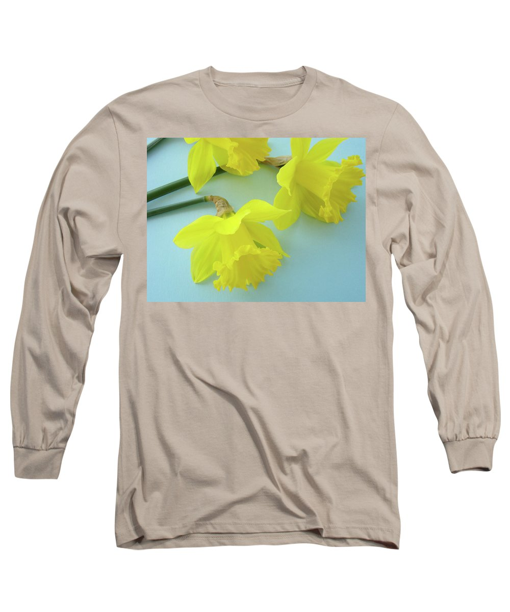�daffodils Artwork� Long Sleeve T-Shirt featuring the photograph Yellow Daffodils Artwork Spring Flowers Art Prints Nature Floral Art by Baslee Troutman