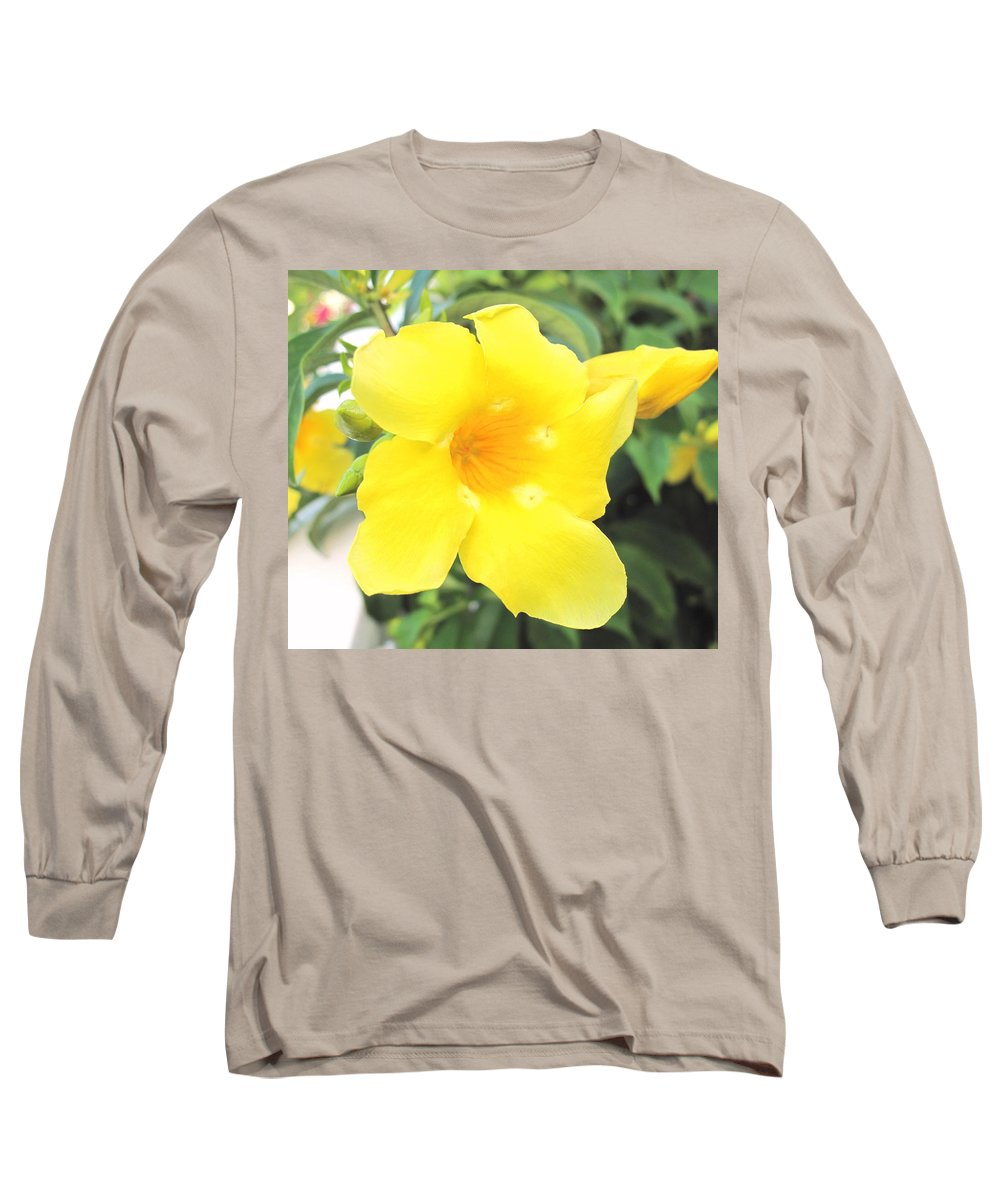 Yellow Long Sleeve T-Shirt featuring the photograph Yellow Hibiscus St Kitts by Ian MacDonald