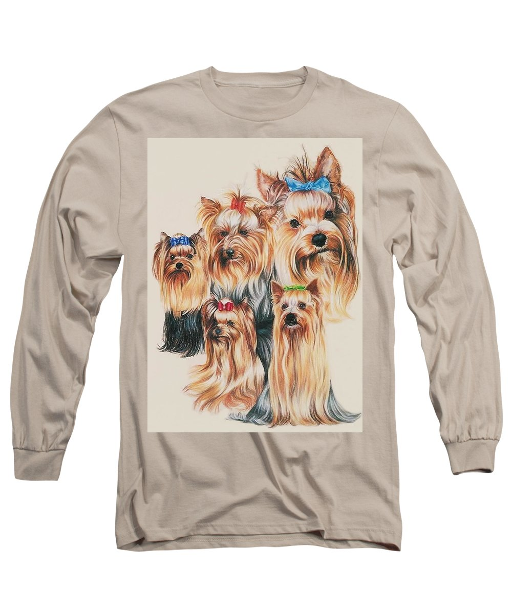 Purebred Long Sleeve T-Shirt featuring the drawing Yorkshire Terrier by Barbara Keith