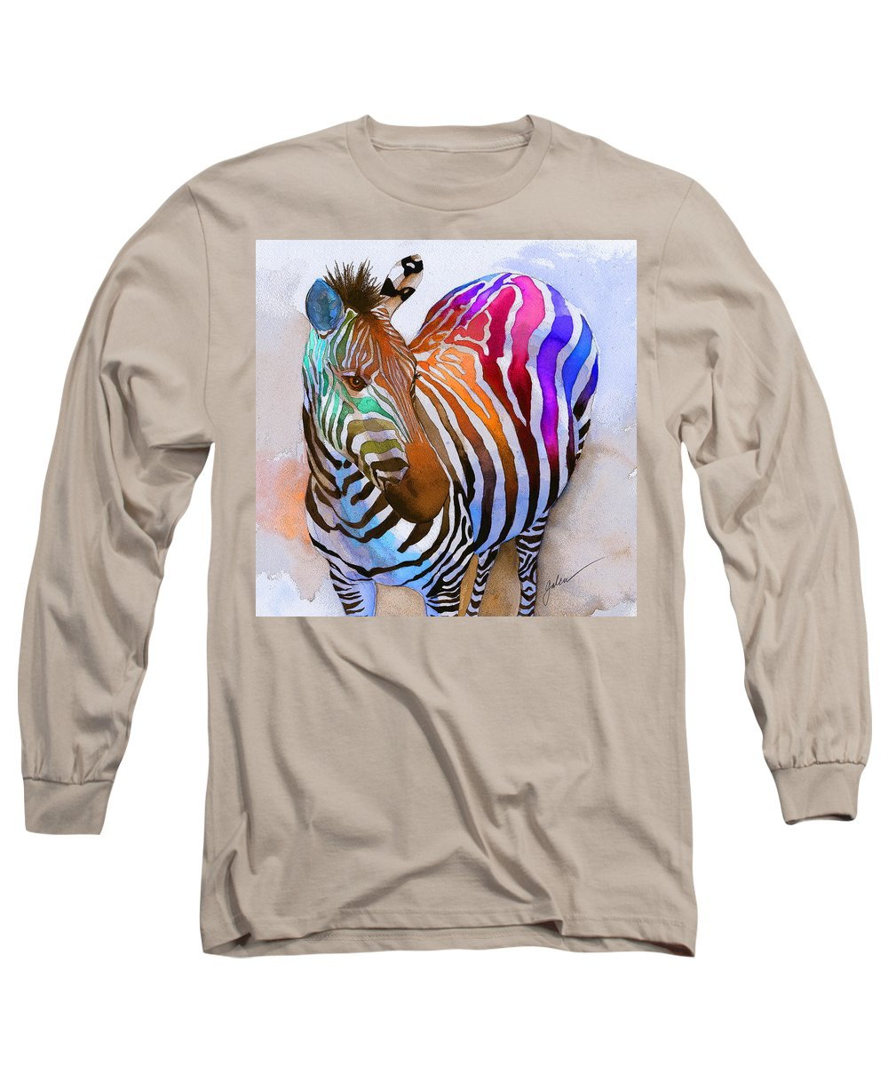 Colorful Long Sleeve T-Shirt featuring the painting Zebra Dreams by Galen Hazelhofer