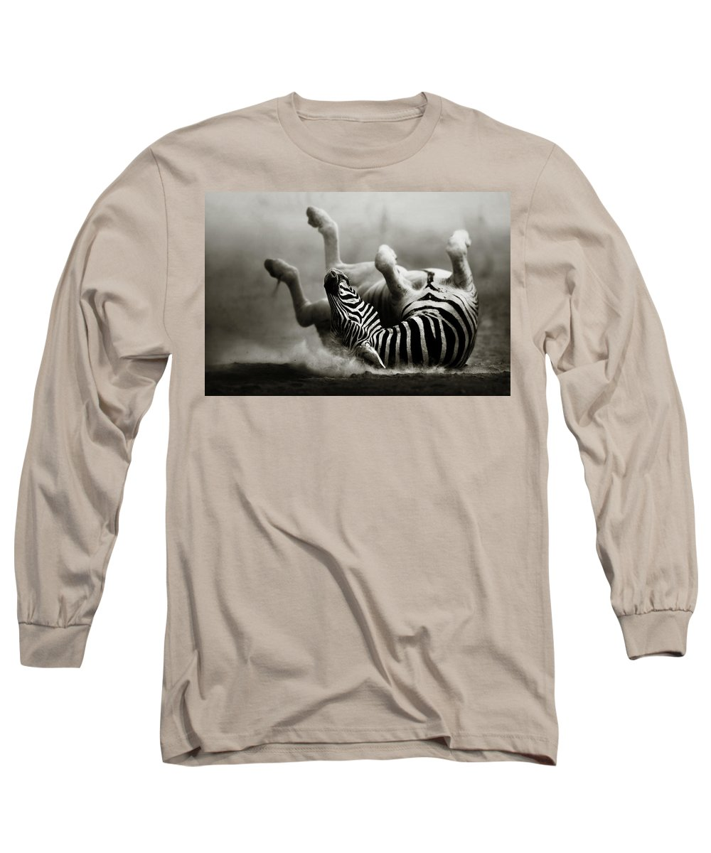 Zebra Long Sleeve T-Shirt featuring the photograph Zebra Rolling by Johan Swanepoel