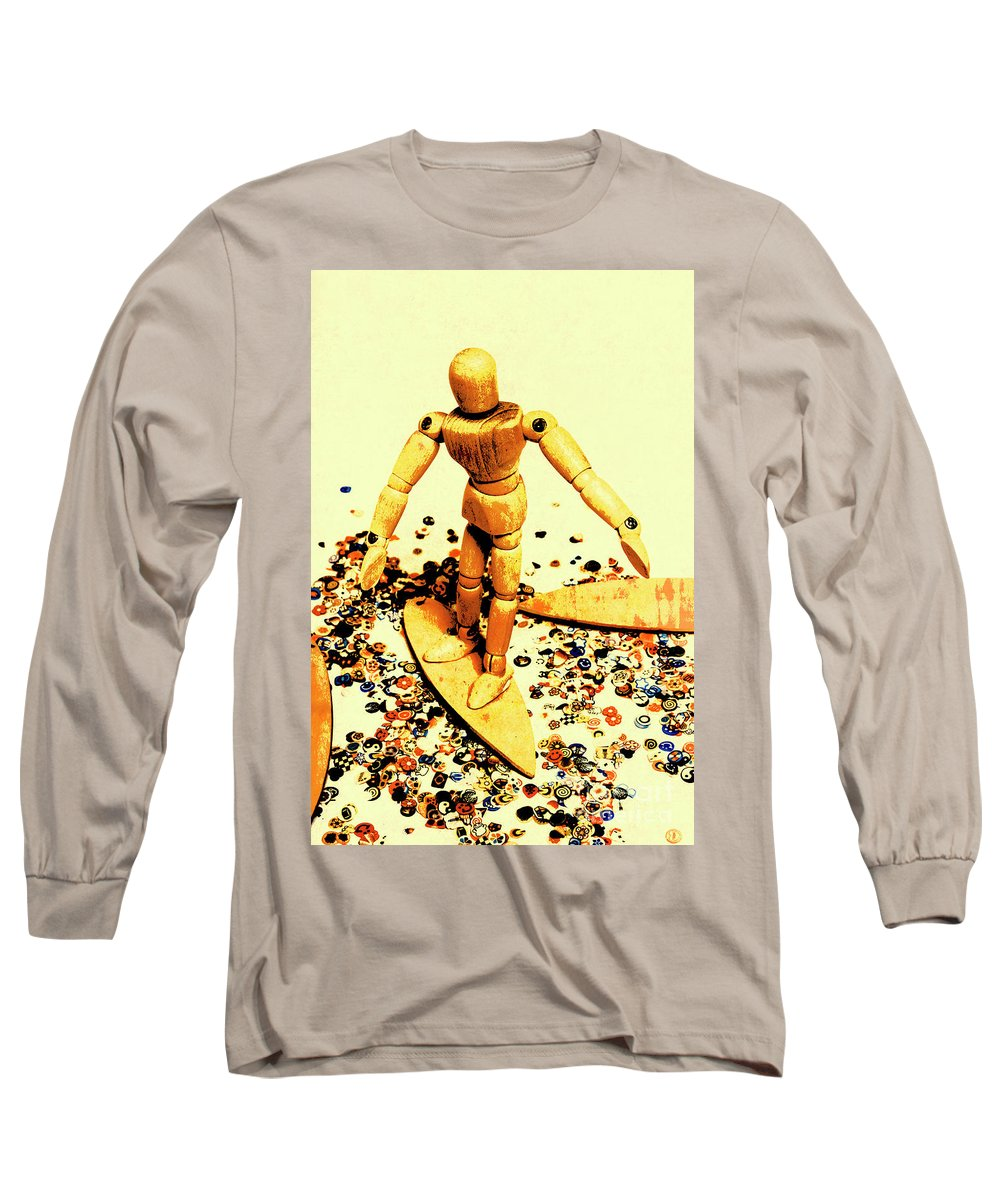 Surf Long Sleeve T-Shirt featuring the photograph Balsa Boarder 1970 by Jorgo Photography - Wall Art Gallery