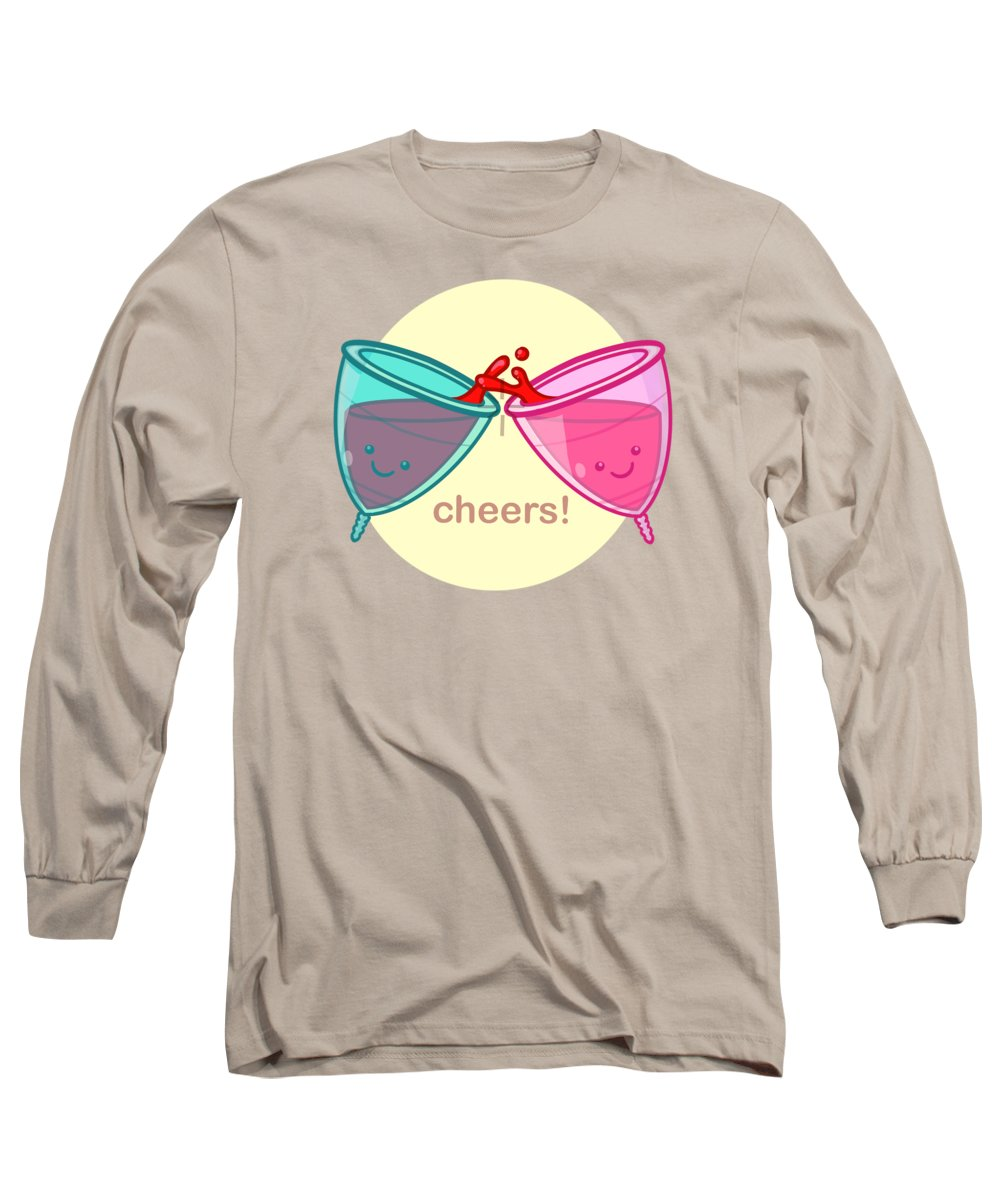 Period Long Sleeve T-Shirt featuring the drawing Cheers by Ludwig Van Bacon